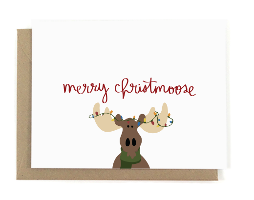 f Pickles Animal Pun Christmas Card- moose
